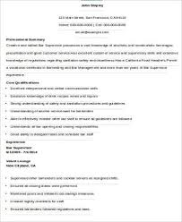Bar Resume Examples by Supervisor Resume Sample 9 Examples In Word Pdf