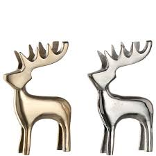 deer ornament set of 2 silver gold decorations