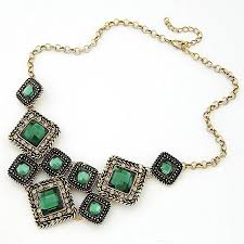 green gem necklace images Wholesale green gem square vintage statement necklace women retro jpg