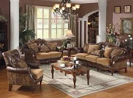 Wooden Frame Sofa Set Traditional Style Formal Living Room Furniture Brown Sofa Set