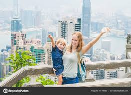 travelers stock images Mom and son traveler stock photo galitskaya 161168092 jpg