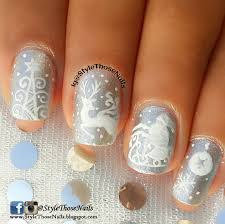 style those nails white christmas nail art