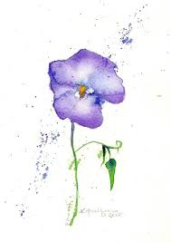 violet original flower watercolor painting mat included