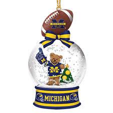 michigan wolverines snow globe ornaments the danbury mint