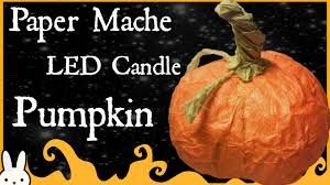halloween led candles diy pumpkin led candle holder paper mache halloween fall decor
