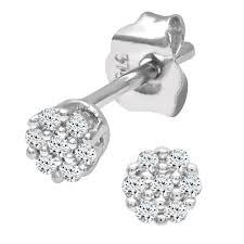 dimond earings naava women s 0 07 ct diamond stud earrings in 9 ct white gold