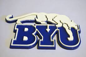 Byu by Byu Cougar Wooden Logo Brigham Young University Plaque Wall