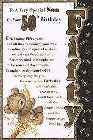 son u0027s 50th birthday card u0027to a very special son on your 50th