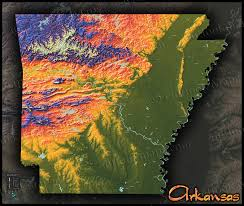 Topographic Map Usa by Colorful Map Of Arkansas 3d Physical Topography