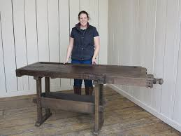 Work Bench With Vice Vintage Industrial Work Bench With Vice And Shelf