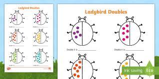 ladybird doubles to 20 activity sheet worksheet doubles