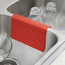 Sink Saddle Mat by Amazon Com Interdesign Lineo Silicone Sink Divider Protector Red