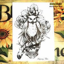 online get cheap owl skull tattoo aliexpress com alibaba group