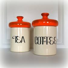 orange kitchen canisters vintage mid century retro canisters orange and white