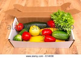 fruit delivered to home organic vegetable box for home delivery service stock photo
