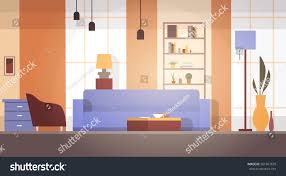 Modern Apartment Design Living Room Interior Home Modern Apartment Stock Vector 561867679