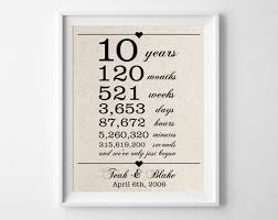 tenth anniversary gifts 10 years together cotton gift print 10th anniversary gifts