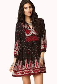 forever 21 boho floral peasant dress in red lyst