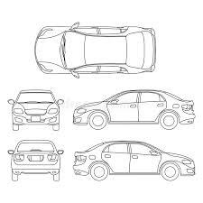 resuma el dibujo del vector del coche del sedán en diverso punto