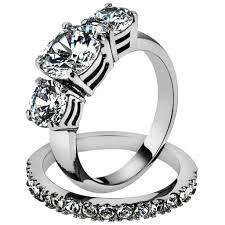 stone wedding rings images Stainless steel round cut 3 stone engagement wedding ring set jpg