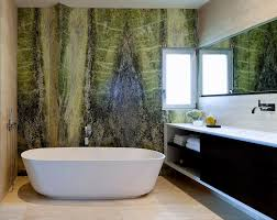 Stone Freestanding Bathtubs Green Accent Wall Bathroom Contemporary With Beige Wall Green