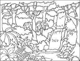 jungle background coloring page with beautiful waterfall also