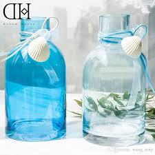 Turquoise Glass Vase Dh Blue Sea Style Glass Vase Flower Bottle Shell Garden Decoration