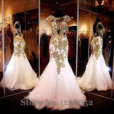 elegant white mermaid evening dresses beaded gold appliques cap