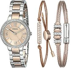 bracelet watches fossil images Fossil women 39 s es3697set virginia three hand stainless steel watch jpg