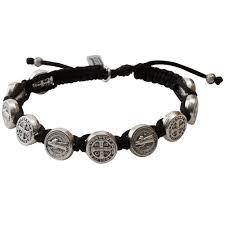 catholic bracelet silver benedictine blessing bracelet black macrame the catholic