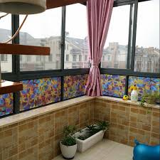 stained flower print mirror sticker adhesive free window glass