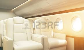 Airplane Interior White Leather Armchair In Aircraft Interior Private Jet Concept