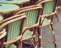 Green Bistro Chairs Paris Cafe Photo Print French Kitchen Decor Brown Paris