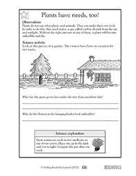1st grade 2nd grade kindergarten science worksheets plants have