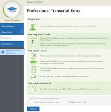 professional transcript entry nursingcas