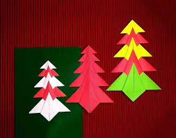 origami tree paper easy christmas card decorations origami tree