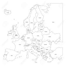 Europe Blank Map by Outline Map Of Europe Simplified Map Made Of Black State Contous