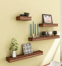 Home Decoratives Brown Wooden Wooden Wall Shelf Set Of Four Display Rack Shelf For
