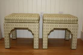 sale pair upholstered chinese chippendale pagoda bench stool
