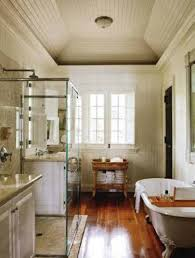 country bathroom ideas with clawfoot tub and walk in shower and