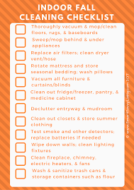 free printable indoor fall cleaning checklist