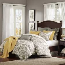 grey and yellow blue bedroom cream floor two windows gray leather