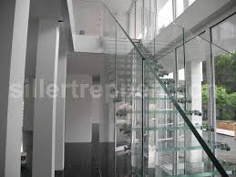 Glass Staircase Design Straight Staircase Glass Steps Glass Frame Without Risers