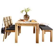 savannah dining table with 3 dining chairs and a bench with seat