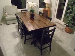 Restoration Hardware Trestle Table Knock Off by Solid Wood Trestle Table With Six Farm Style Black Chairs The