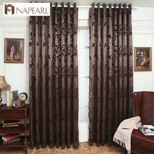 livingroom window treatments jacquard curtains leave design brown curtain fabrics window