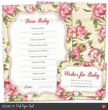 printable baby shower game wishes for baby floral high tea
