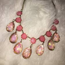 necklace with pink stone images 60 off jewelry gold and pink stone dangle drop necklace from jpg