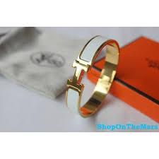 hermes bracelet white images Hermes gold plated clic clac h narrow bracelet white enamel jpg