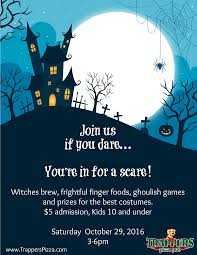 spooky halloween bash for kids trappers pizza pub